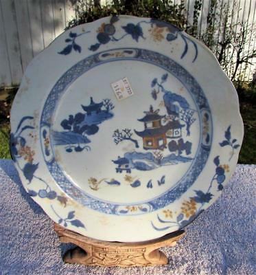 Antique 18thC Chinese Nanking Cargo Three Pavilions Plate  - Christies Labels