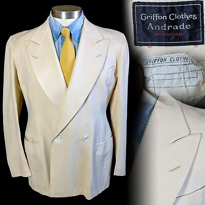 Vintage 1930s Griffon Clothes Andrade Hawaii double breasted jacket 38