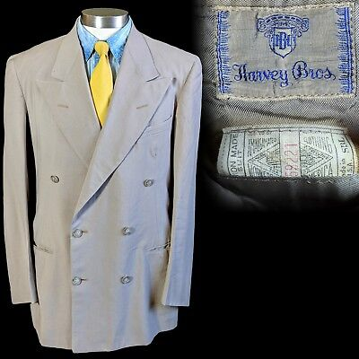 Vintage 1940s Harvey Bros. summer suit jacket double breasted 38