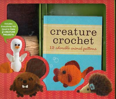 Creature Crochet Kit 12 Animal Projects Book Hook Yarns Needle Stuffing Felt +