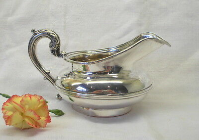 Georgian silver plated creamer by Matthew Boulton. Antique sauce boat, gravy jug