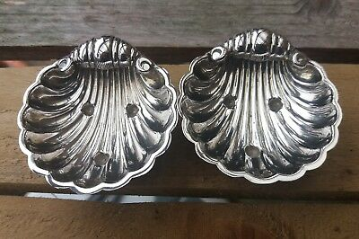 Lovely Vintage Pair Of Solid Silver Shell Butter Dishes Francis Howard 1986