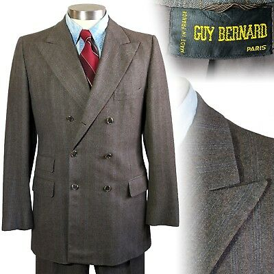 Vintage Guy Bernard France brown double breasted suit 1980s does 1920s 40 33x32