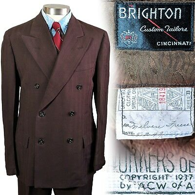 Vintage 1940s Brighton brown double breasted suit 38 jacket 30x31 pants