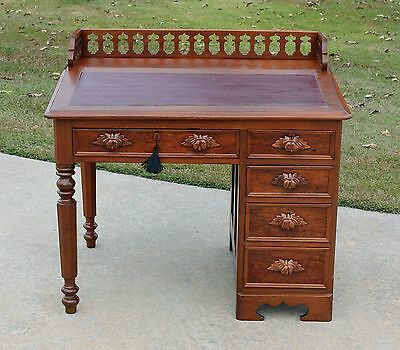 Victorian Walnut Leather Top Desk wPierced Carved Gallery Leaf Pulls & Key c1875