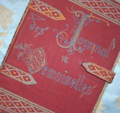 BEAUTIFUL MID 19th CENTURY FRENCH EMBROIDERED COVER FOR JOURNAL DES DEMOISELLES
