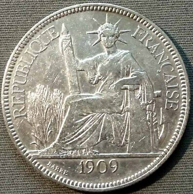French Indo-China 1909 A Silver Piastre KM#5a.1