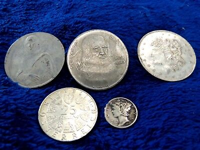5 Coins All Silver 25 Schilling, 1 Dime, Justice and Shield, One Troy Ounce .999