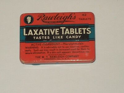 Vintage-Litho-Advertising-Medicine-Tin-RAWLEIGH'S-Laxative-Tablets-Empty-Insert