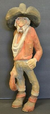 """Vintage Andy Anderson Wood Carving 15"""" Tall Bearded Cowboy"""