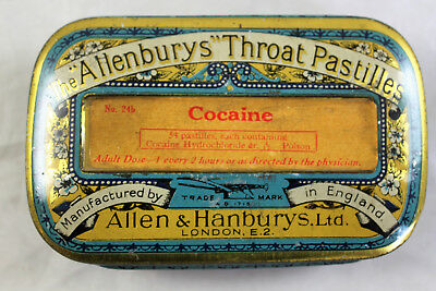 Antique Cocaine Throat Pastilles Lozenge Tin by Allen & Hanbury, London, c 1920