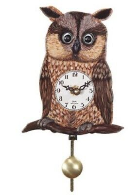 Owl with Moving Eyes and Pendulum Quartz Movement Mini German Clock Made Germany