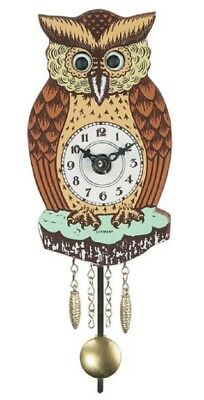 Brown Owl with Moving Eyes and Pendulum Quartz Movement Mini German Clock