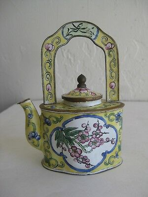 Fine Old Antique Chinese Canton Enamel on Copper Miniature Teapot w/Lid