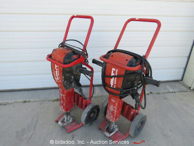 Lot of (2) Hilti TE 3000 AVR Electric Demolition Jack Hammer w/ Cart bidadoo