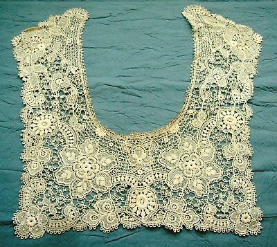 VINTAGE ANTIQUE HAND MADE LACE Needle Point De Gaze Brussels Collar Yolk LN17