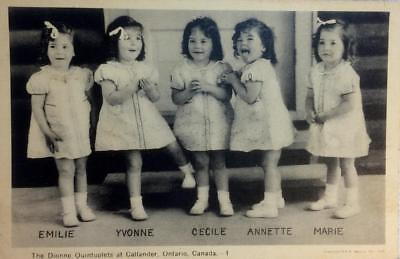 Antique 100 Year Old Collectors Postcard Photograph Of The Dionne Quintuplets