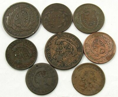 Lot of 8 Canadian Bank Tokens - Lower & Upper Canada, Montreal