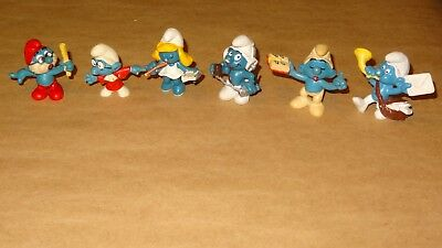Smurf - Smurfette Collection lot of 6 Smurfs Vintage Rare Used Display Figurines