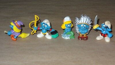 Smurf - Smurfette Collection lot of 5 Smurfs Vintage Rare Used Display Figurines