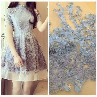 5 Yards African Lace Fabric Blue Wedding Dress Material 3D Chiffon Flowers