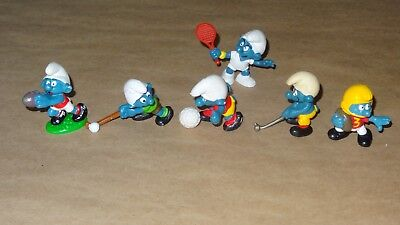 Smurf - Sports Collection lot of 6 Smurfs Vintage Rare Used Display Figurines