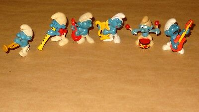 Smurf - Music Collection lot of 6 Smurfs Vintage Rare Used Display Figurines