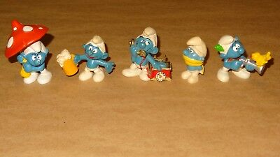 Smurf Collection lot of 5 Smurfs Vintage Rare Used Display Figurines