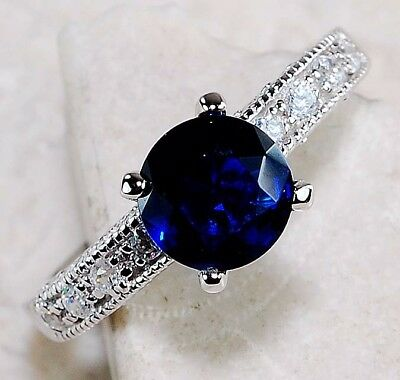 1CT Blue Sapphire & White Topaz 925 Solid Sterling Silver Ring Jewelry Sz 7