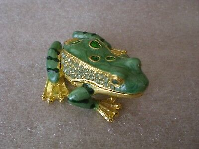 Green Enamel Frog Bejeweled on Back and Sides Hinged Trinket Box New