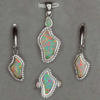 66.2CT 925 Sterling Silver Multicolor Play Of Color Synthetic Opal Sets CSOL23