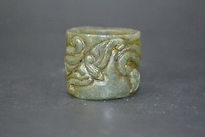 handwork Collectible Chinese Vintage Old Jade antique bat Royal Highness Ring