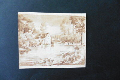 FRENCH SCHOOL 19thC -  LANDSCAPE - LAKESIDE HOUSE - WATERCOLOR