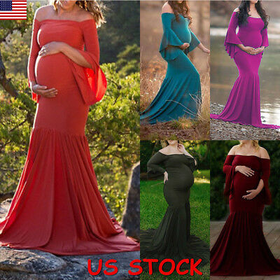 Pregnant Women Sexy Maxi Long Dress Maternity Gown Photography Props Dresses USA