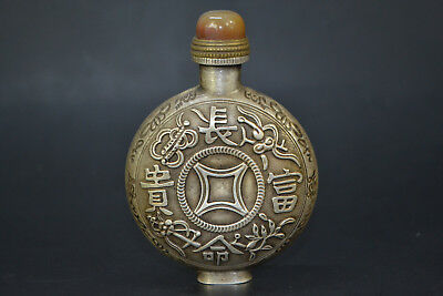 Vintage Chinese Collectible Old tibet silver handwork character Snuff Bottle