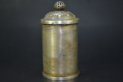 Chinese Collectible Handwork Old tibet Silver Carve Dragon Phoenix tooth Box
