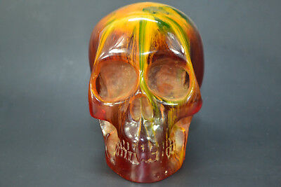 Vintage chinese Collectible Decor Amber Resin skull art Theme Exquisite Statue
