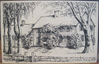 Rhode Island Postcard KINGSTON LITTLE REST Cyrus French House R Robinson Drawing