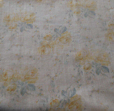 Antique Edwardian Yellow Roses Floral Light Lawn Voile Sheer Cotton Fabric ~