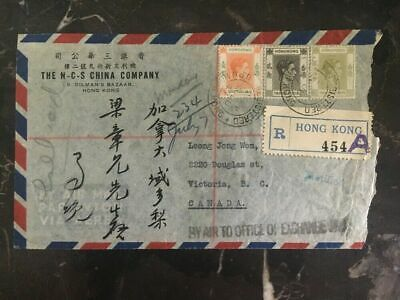 1947 Hong Kong Commercial Registered cover NCD China Co To Victoria BC Canada
