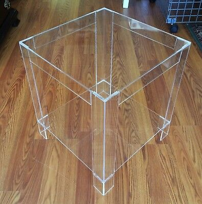 MID CENTURY MODERN LUCITE ACRYLIC SIDE ACCENT LAMP TABLE w SHELF CUBE CUBIST