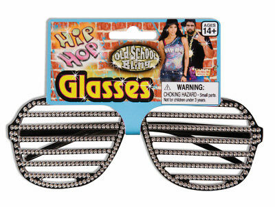 Hip Hop Rhinestone Black Slat Costume Glasses