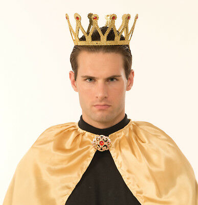 Royal King Costume Crown Gold With Jewels Adult Men