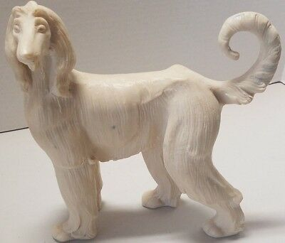 "Afghan Hound Ivory Colored Sculpture Art Dog Figurine Indoor Statue 10"" Tall"