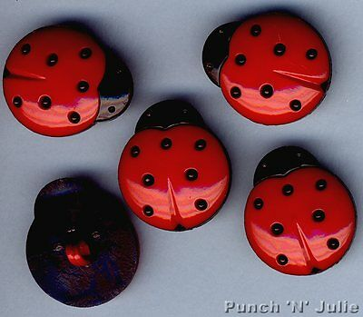 LARGE LADYBUGS Ladybird Red Black Spots Insect Garden Dress It Up Craft Buttons