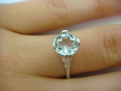 Vintage Art-Deco 14K White Gold Filigree Ring With Genuine Aquamarine 2.5 Grams
