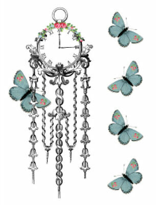 Vintage Image Shabby Clock Butterfly Furniture Transfers Waterslide Decal MIS647