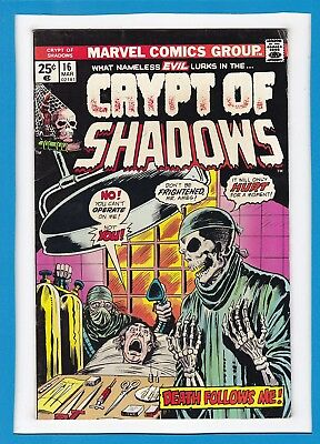 "Crypt Of Shadows #16_March 1975_Very Good/fine_""death Follows Me""_Bronze Horror!"
