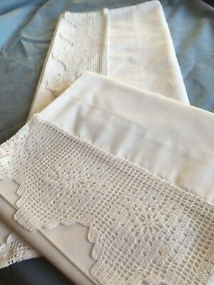 "Pair white vintage cotton pillowcases with ties  4"" deep floral handmade lace"