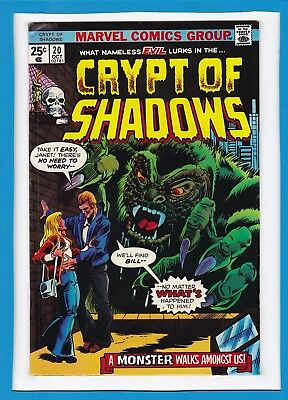 """Crypt Of Shadows #20_Oct 1975_Vg_""""a Monster Walks Amongst Us""""_Bronze Age Horror!"""